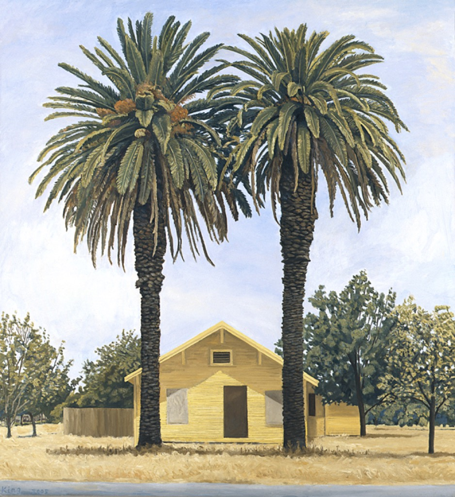 Yellow House and Two Palms
